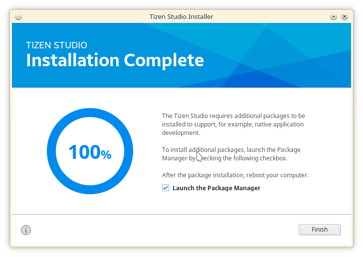 tizen finish installation